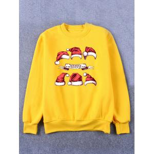Hat Print Crew Neck Flocking Christmas Yellow Sweatshirt