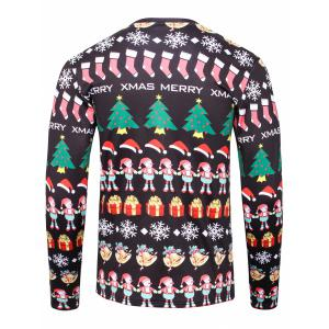 3D Christmas Cartoon Print Flocking Graphic Sweatshirts - BLACK 4XL