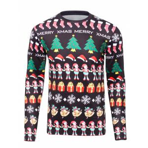 3D Christmas Cartoon Print Flocking Graphic Sweatshirts