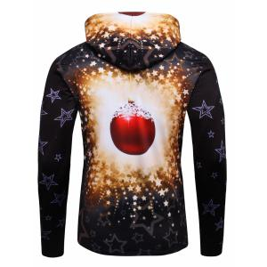 3D Christmas Tree and Stars Print Flocking Hoodie -