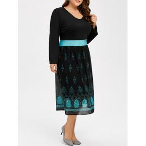 Printed V Neck Casual Midi Dress With Sleeve - Black - 3xl