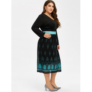 Printed V Neck Casual Midi Dress With Sleeve - BLACK 3XL