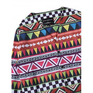 Colorful Geometric Print V Neck Single Breasted Jacket - COLORMIX 3XL