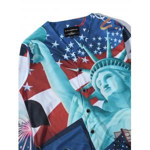 3D Statue of Liberty Print V Neck Single Breasted Jacket -