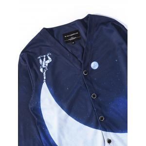 3D Moon and Spaceman Print V Neck Single Breasted Jacket - DEEP BLUE 3XL