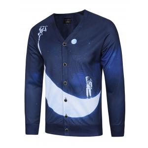 3D Moon and Spaceman Print V Neck Single Breasted Jacket - Deep Blue - M
