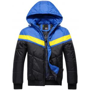 Hooded Color Block Spliced Zip Up Thicken Padded Jacket - Blue - M