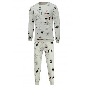 Cartoon Print Crew Neck Sweatshirt and Jogger Pants Twinset - White - Xl