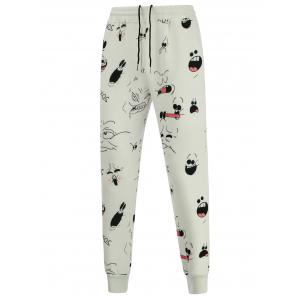 Cartoon Print Crew Neck Sweatshirt and Jogger Pants Twinset - WHITE XL