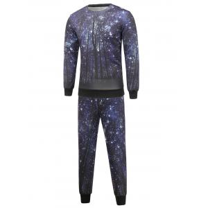 Long Sleeve Galaxy Sweatshirt and Jogger Pants Twinset - Deep Blue - Xl