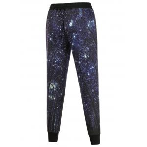 Long Sleeve Galaxy Sweatshirt and Jogger Pants Twinset - DEEP BLUE XL