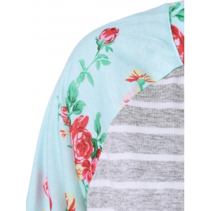Plus Size Floral and Striped Tee -