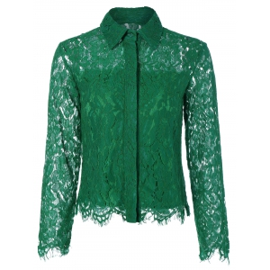 See Thru Lace Slim Fit Blouse