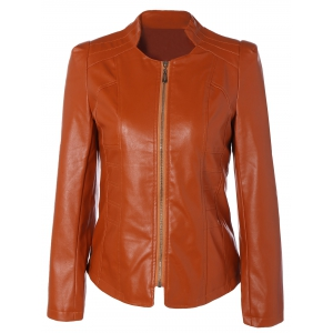 Slim Fit Faux Leather Jacket