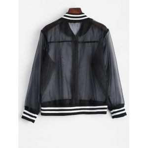 Mesh Sheer Baseball Jacket -