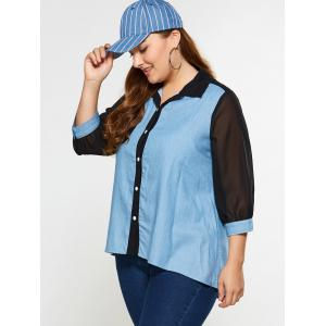 Plus Size See Thru Chambray Shirt - DENIM BLUE 5XL