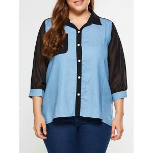 Plus Size See Thru Chambray Shirt - Denim Blue - Xl