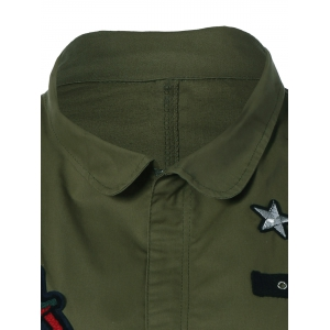 Patched Plus Size Jacket - ARMY GREEN 4XL