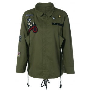 Patched Plus Size Jacket - Army Green - 2xl