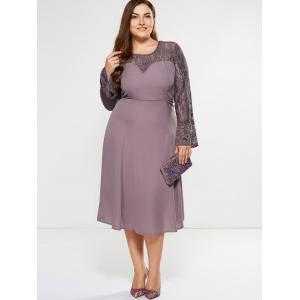 Plus Size Bell Sleeve Lace Insert Dress - SUEDE ROSE 5XL