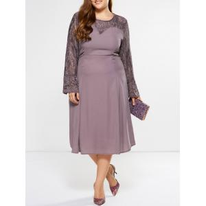 Plus Size Bell Sleeve Lace Insert Dress - Suede Rose - Xl