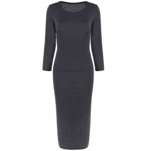 Long Sleeve Slim Fitted Midi Dress