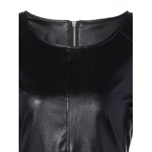 Long Sleeve Faux Leather Mini Dress - BLACK 2XL