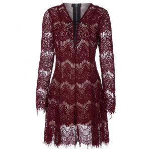 Zip Lace Long Sleeve Criss Cross Dress