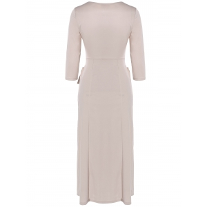 V Neck Surplice Midi Dress - NUDE 2XL
