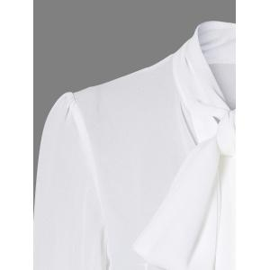 Pussy Bow Semi Sheer Blouse - WHITE 2XL