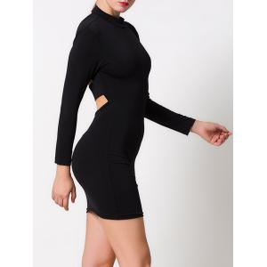 Mock Neck Cut Out Bodycon Mini Dress -