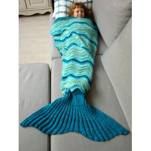 Knitted Open Work Color Splicing Mermaid Blanket and Throws For Kid - COLORMIX