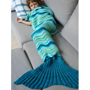 Knitted Open Work Color Splicing Mermaid Blanket and Throws For Kid