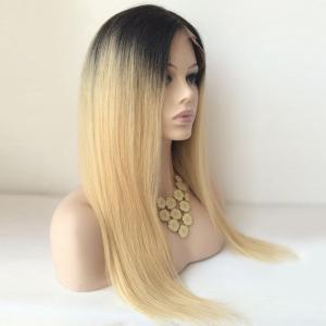 Long Middle Part Lace Front Straight Human Hair Wig - COLORMIX