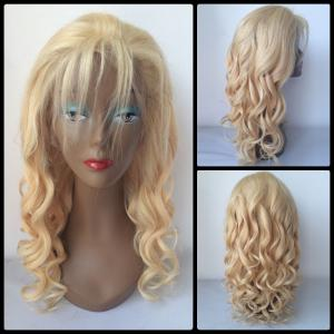 Fluffy Long Curly Lace Front 100 Percent Human Hair Wig - Golden - 16inch