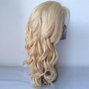 Fluffy Long Curly Lace Front 100 Percent Human Hair Wig - GOLDEN