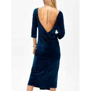Backless Round Neck Velvet Party Tea Length Dress