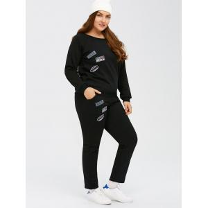 Patch Design Plus Size Sports Suit - BLACK 5XL