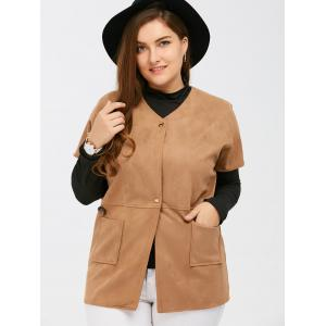 Suede Short Sleeves Jacket with Mock Neck Tee - CAMEL 5XL