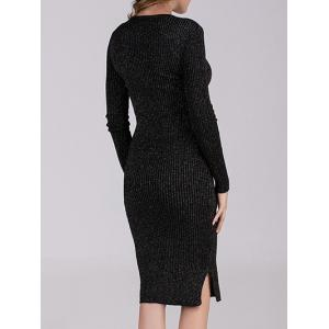 Bodycon Ribbed Long Sleeve Dress - BLACK ONE SIZE