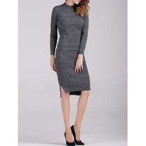 Long Sleeve Fitted Midi Jumper Dress -