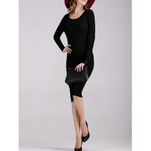 Buttoned Knitted Long Sleeves Fitted Dress -