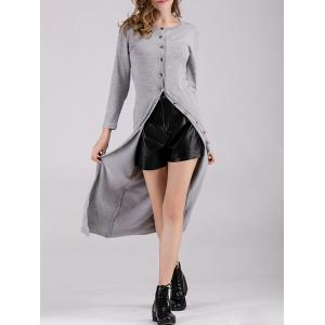 Long Button Up Fitted Cardigan - Gray - One Size