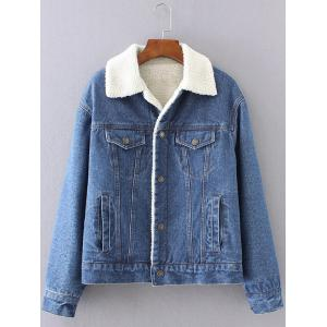 BF Fleece Jean Jacket with Sleeves - Deep Blue - M