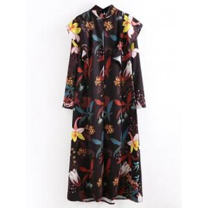 Flounce Floral Midi Long Sleeve Flowy Dress