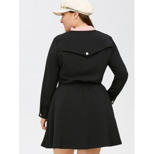 Shirred Plus Size Zip Front Flare Dress - BLACK 5XL