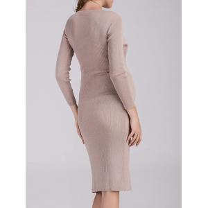 Surplice Fitted Knitted Dress -