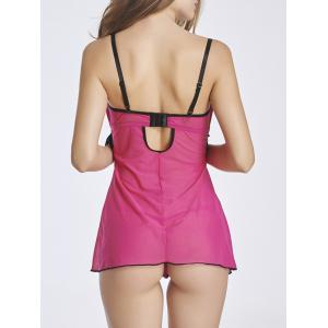 Ruched Cut Out Lace Insert Babydoll -