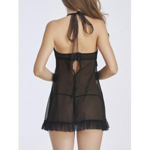 Open Front Lace Panel Ruffled Babydoll -