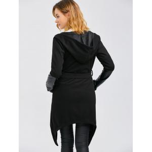 Leather Panel Self-Tie Wrap Coat - BLACK XL
